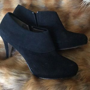 Black suede booties by Adrienne Vittadini